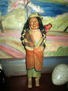 Antique Skookum First Nation Doll With Baby -american Folk Art