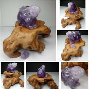 Old Chinese Carved Amethyst Crystal Quartz Figure Statue Large Rabbit W/ Stand