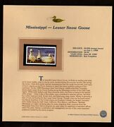 Mississippi Lesser Snow Goose State Duck Stamp 1988 On Fleetwood Page Mint Nh