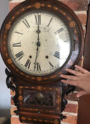 New Haven Antique Multiple Woods Inlay Wall Clock Grand Huge Read