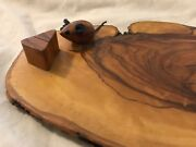 Vintage Wood Cheese Plate Mouse And Cheese Slice Knife Holder Accents