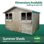 Summer Shed Pressure Treated Tanalised Garden Summerhouse Quality Wooden Timber