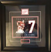 Ted Lindsay Signed 7 With Stanley Cup Winner Years 1949/50 51/52 53/54 54/55