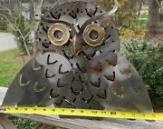 Large Metal Owl Candle Holder Home Decor Wall Hanging Tabletop Art Funky Vintage