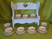 9 Vintage Franciscan China Desert Rose Tea Cups And 8 Saucer Plates Mint 1958