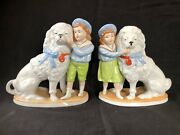 Antique Porcelain Staffordshire Dogs. Marked Pair With Boy And Girl