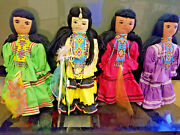 Vintage Apache Indian Dolls Beaded Necklaces 16 1/2 Ea Tall 4 Piece Combo Rare