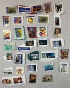 Stamp Collection, 31 Used World Stamps - Us, Norge, Australia International Post