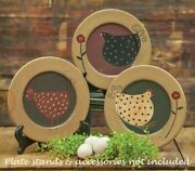 Primitive Hen Plates Folk Art 3 Assorted Wood 10 Wide Country Farmhouse Rustic