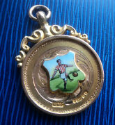 Attractive 9ct Gold And Enamel Football Fob Medal / Pendant H/m 1921 Not Engraved
