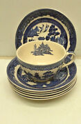 Johnson Bros Blue Willow 6 Tea Cups And Saucers