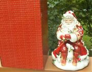 Nib Fitz And Floyd Town And Country Lidded Cookie Jar Red Santa Rabbits New