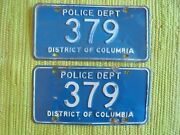 Early Police Dept License Plate District Of Columbia Tag Pair Washington Dc Low