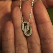 14k Solid White Gold Natural Diamond Ou Charm Pendant Necklace Fine Jewelry