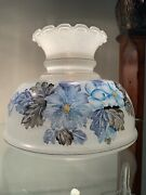 Antique Hand Painted Glass Lamp Shade Blue Floral Ruffle Top X/l