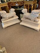Incredible Asian Decorative Arts Carved Pair Of Foo Dogs On Pedestal