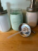 Pair Of 16-oz Glass Mason Jars Hand Soap/lotion Pump White And Pastel Green