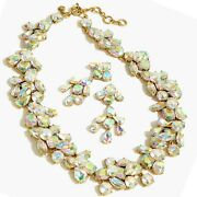 J Crew Ab Crystal Cluster Stone Necklace Chandelier Earrings Set New