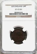 1672 England Copper Farthing King Charles Ii Pre-decimal Coinage Ngc Xf 45 Brown