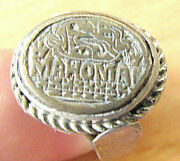 Islamic Antique Low Grade Silver Ring Size 9 Signed Mahomad, Oriental Ornament