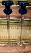 Sale Vtg Pair Fratelli Toso Signed Cobalt Blue Glass Stem Candle Holders Murano