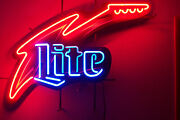 Lite Beer Guitar Neon Light Up Sign Music Game Room Rare 1997 Clean Bright 36x27
