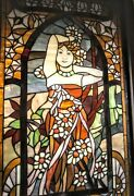 Alphonse Mucha Daylight Stained Glass In Wood Frame. 36x23... Lovely💕