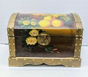 Floral Still Life Painted Floral Fruit Wood Dome Trunk Chest Vintage Box Stud