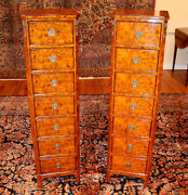 Beautiful Pair Of Mounted Burled Walnut Lingerie Chests 7 Drawer