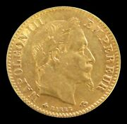 1865 A Gold France 10 Francs Napoleon Iii Paris Mint Coinage About Mint State