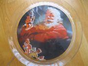 Vintage Glass 13 Coca-cola Platter Christmas Santa And Children With Presents