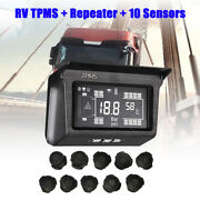Solar Power Tpms Tyre Pressure Monitor System 10 Sensor And Repeater For Truck Rv