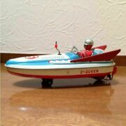 Yonezawa Toy Motor Boat S-queen Y-6 Tinplate Windup Vintage Toy Made In Japan