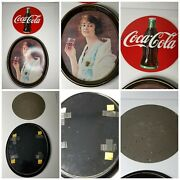 Lot Of 2 Coca-cola Bottle Sign Ande Rooney Porcelain And Serving Tray