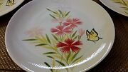 4 Vintage 1953 Hand Painted Red Wing Pink 75th Anniversary Dinner Plates Unused