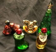 5 Vintage Avon Christmas Collectible Bottles W/cologne Mostly Full