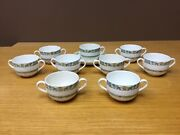 Rare Vintage Minton Andldquoramseyandrdquo 8 Cream Soup Bowls And Cup And Saucer - Excellent