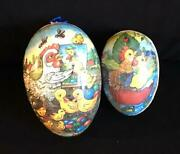 2 Easter Eggs Paper Mache German 5 And 6 Colorful Ducks Roosters Frogs