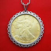 2004 1 Oz American Silver Eagle 24k Gold Gilded Coin Sterling Silver Necklace