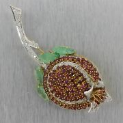 1960and039s Vintage Estate 18k White Gold 7.50ctw Ruby Diamond And Emerald Rose Pin