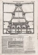 Old 1846 Print Patent Double Action Printing Machine With Four Cylinders B112