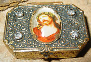 Vintage Gold-coloured And Faux-jeweled Rosary Box W/ Christ Image And Beaded Rosary