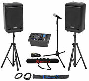 Samson Expedition Xp300 300w 6 Pa Dj Speakers+6-ch Mixer+stands+mic+mic Stand