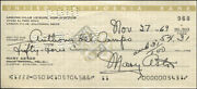 Mary Astor - Autographed Signed Check 11/27/1969 With Co-signers