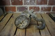 Vintage Wood And Cast Iron Double Wheel Pulley