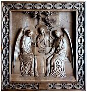 Russian Orthodox Icon Of The Holy Trinity, Carved Wood Beech, 5555 Cm, Handmade