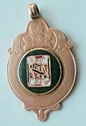Unusual 9ct Gold Enamel Watch Fob Medal - Whist / Bridge / Playing Cards 1923