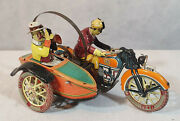 Vintage Payá, Tuf Tuf Motorcycle With Sidecar, 1936. Reference 978, Very Rare