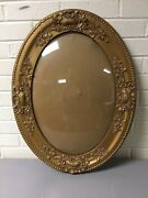 Antique Gold Gilt Carved Gesso Barbola Oval Bubble Glass Frame 24 3/4andrdquo X 18 3/4andrdquo