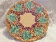 Antique Majolica Villeroy And Boch Maple Leaf Andfern Plate Schramberg Germany 11.5